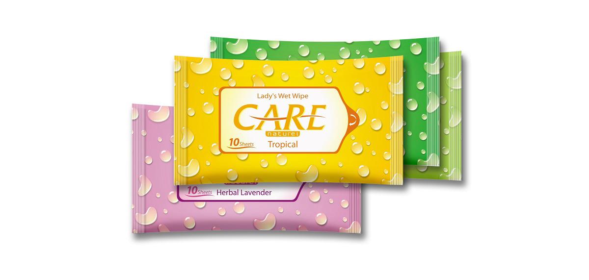 Mẫu thiết kế bao bì khăn ướt Care do Bigsouth Brand thực hiện cho Diana