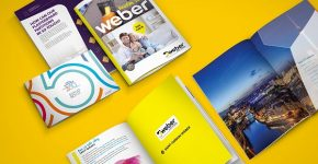 Thiết kế bộ tài liệu bán hàng có nhiều hình ảnh đẹp tăng khả năng bán hàng cho doanh nghiệp. (Thiết kế của Bigsouth Brand)